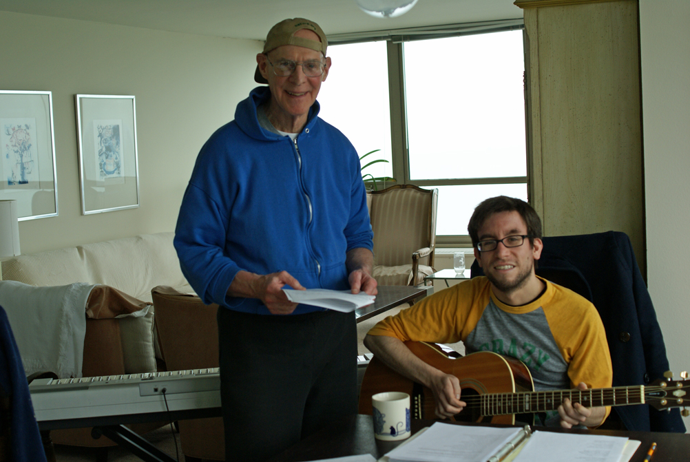 "Producer, Writer and Director Avrum Krause and Musical Director Mike Evans pose for the camera while working on ""Rock 'n' Roll AD,"" a new, original one-act musical theater production for Chicago senior theater troupe Time of Your Life Players."