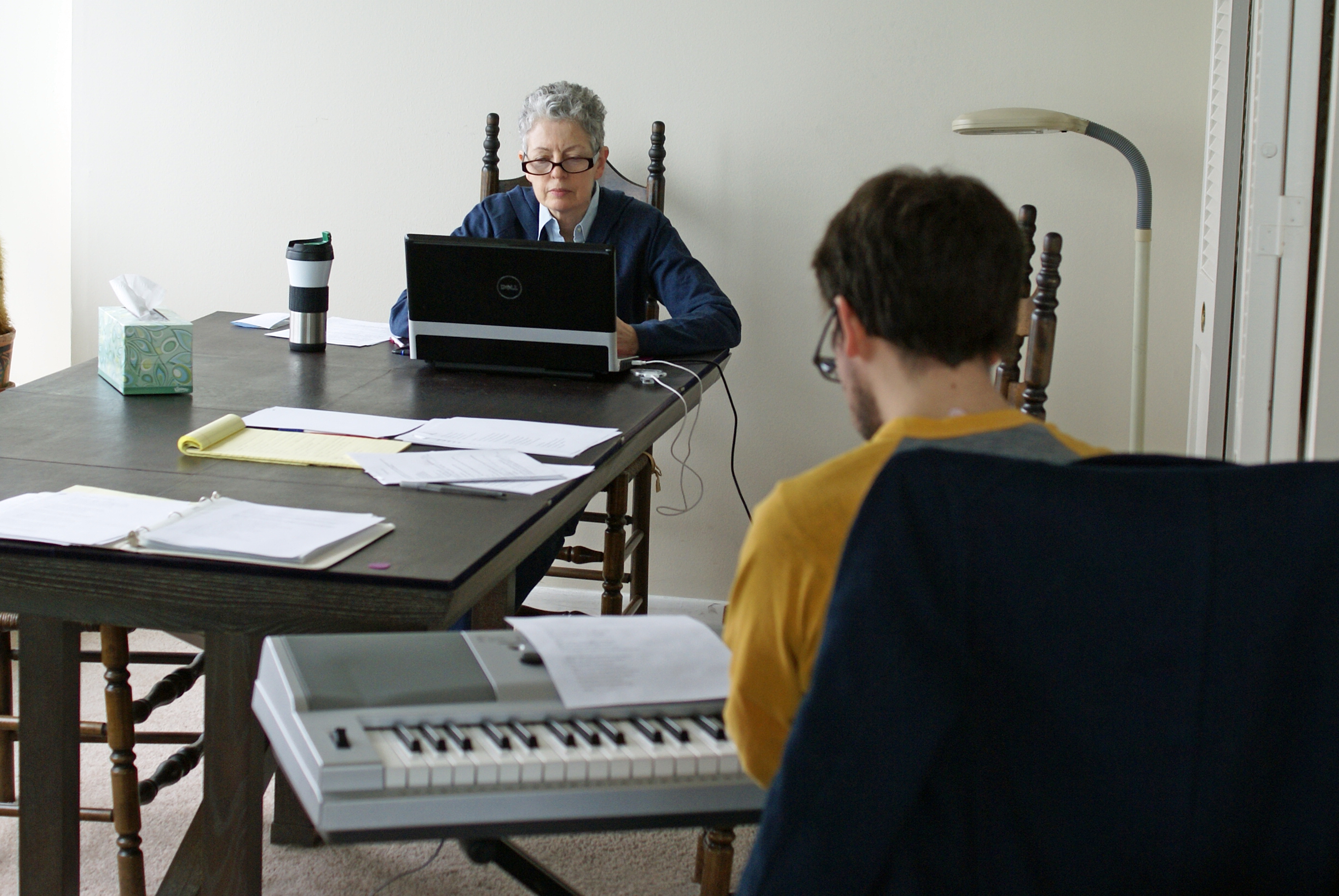 "Lyricist Lauren Krause and Musical Director Mike Evans work on ""Rock 'n' Roll AD,"" a new, original one-act musical theater production for Chicago senior theater troupe Time of Your Life Players."