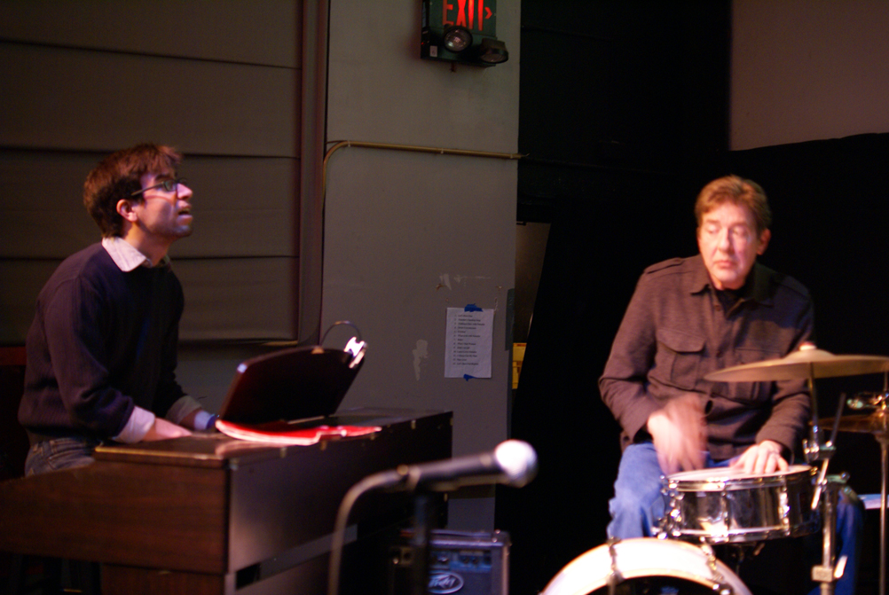 "Mike Evans, Musical Director, and Ken Stefancich, Drummer, perform a song from original musical comedy ""Let's Have Fun With This"" at the Wilmette Theatre."