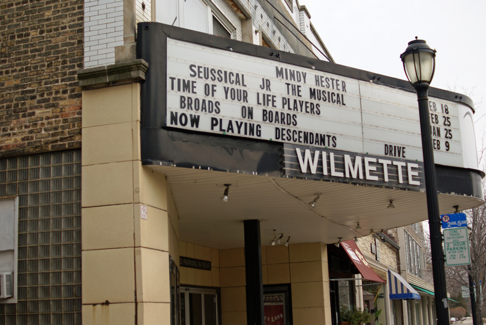 """Time of Your Life Players"" on the Wilmette Theatre's Central Avenue marquee."